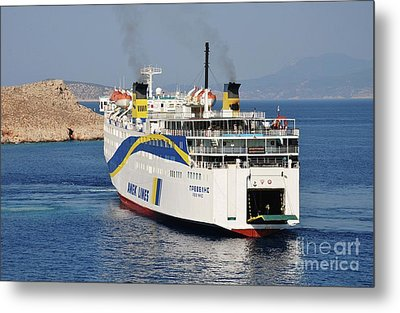 Docking Ferry On Halki Metal Print
