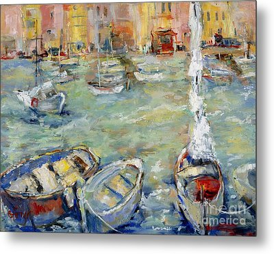 Docking In Cassis Metal Print by Sharon Furner