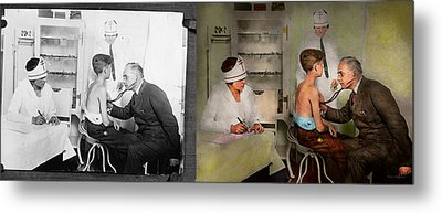 Doctor - At The Pediatricians Office 1925 - Side By Side Metal Print by Mike Savad
