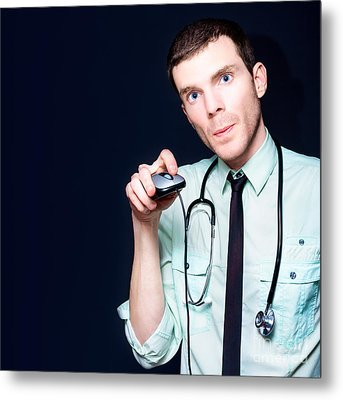 Doctor Going Online For Medical Health Care Metal Print by Jorgo Photography - Wall Art Gallery