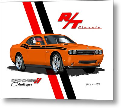 Dodge Challenger Rt Classic - Orange Metal Print