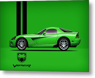 Dodge Viper Snake Green Metal Print by Mark Rogan