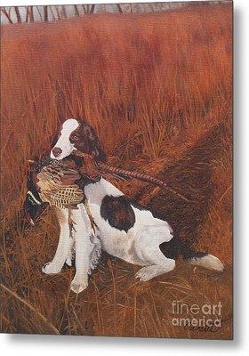 Dog And Pheasant Metal Print by Barbara Barber