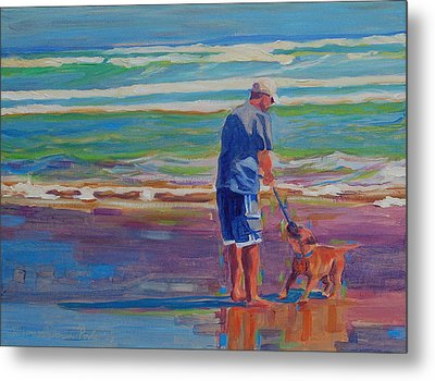 Dog Beach Play Metal Print by Thomas Bertram POOLE