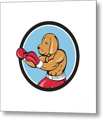 Dog Boxer Fighting Stance Circle Cartoon Metal Print