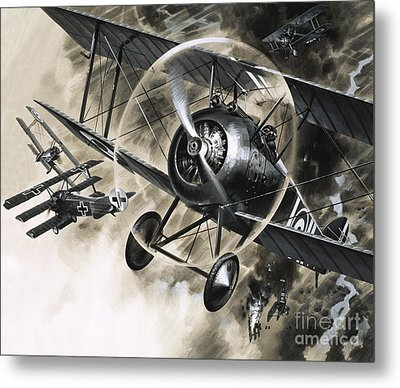 Dog Fight Between British Biplanes And A German Triplane Metal Print by Wilf Hardy