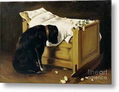 Dog Mourning Its Little Master Metal Print by A Archer