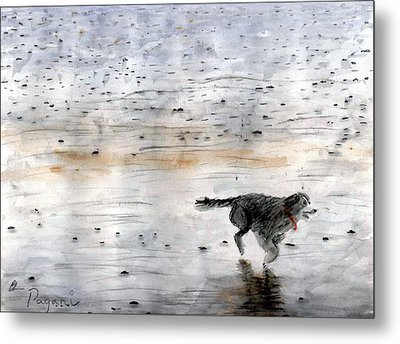 Metal Print featuring the painting Dog On Beach by Chriss Pagani