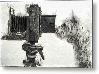 Dog Photographer Pencil Metal Print by Edward Fielding