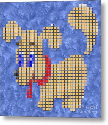 Dog Pixelated Metal Print by Miroslav Nemecek