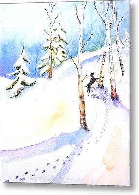 Dog Play In Snow Forest Metal Print by Carlin Blahnik