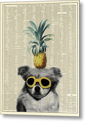 Dog With Goggles And Pineapple Metal Print