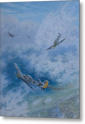 Dogfight Over Dieppe 19 August 1942 Metal Print by Elaine Jones