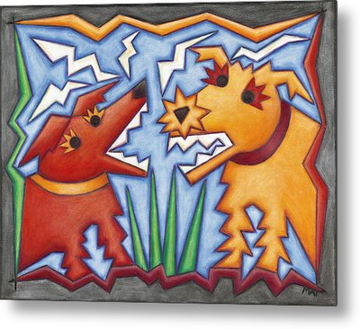 Doggie Duet Metal Print by Mary Anne Nagy