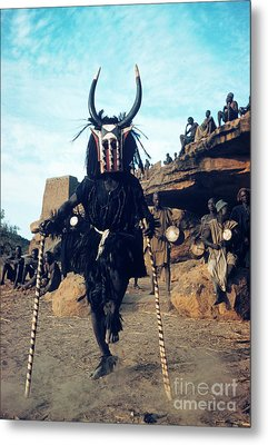 Dogon Dancer Wearing Mask, Sudanese Republic Metal Print