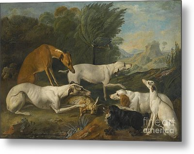 Dogs In A Landscape With Their Catch Metal Print by Celestial Images