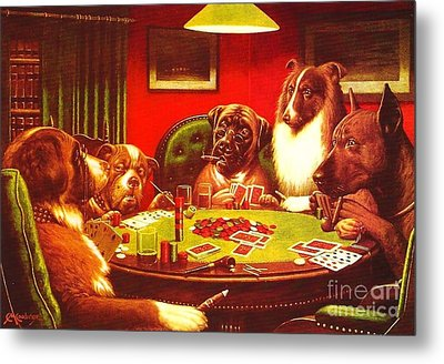 Dogs Playing Poker Metal Print