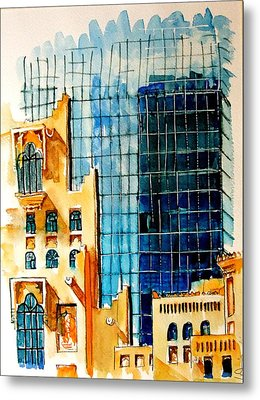 Doha Reflections Metal Print by Mike Shepley DA Edin