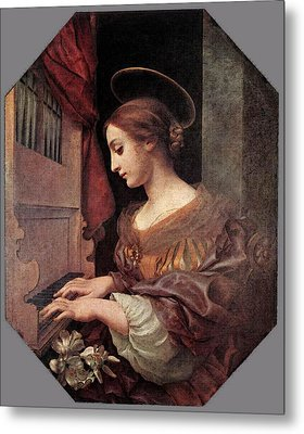 Dolci Carlo St Cecilia At The Organ Metal Print by Carlo Dolci