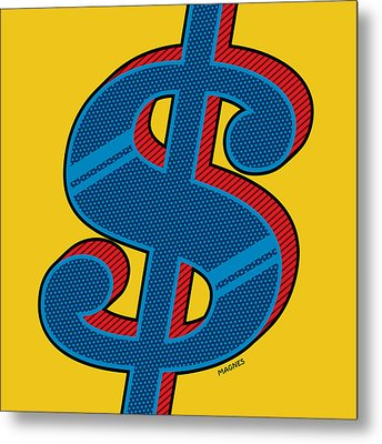 Metal Print featuring the digital art Dollar Sign Blue by Ron Magnes