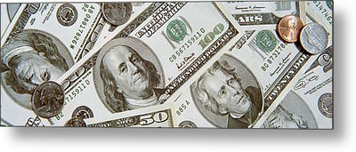Dollars And Cents Currency Us Metal Print by Panoramic Images