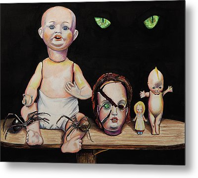 Dolls And Spiders Metal Print