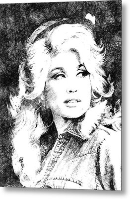 Dolly Parton Bw Portrait Metal Print