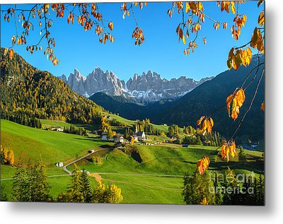 Dolomites Mountain Village In Autumn In Italy Metal Print by IPics Photography