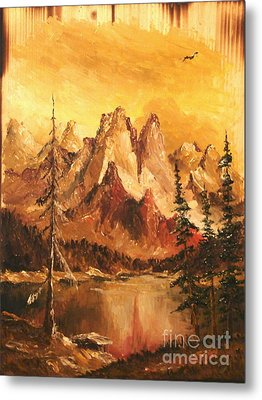 Metal Print featuring the painting Dolomiti by Sorin Apostolescu