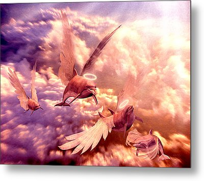 Dolphin Angels Metal Print by Robby Donaghey