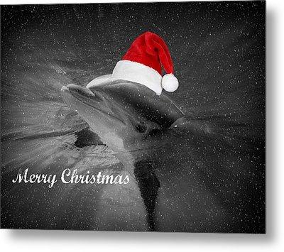 Dolphin Christmas Metal Print