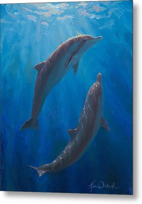 Metal Print featuring the painting Dolphin Dance - Underwater Whales by Karen Whitworth