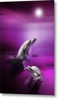 Dolphin Delights Metal Print by Julie L Hoddinott