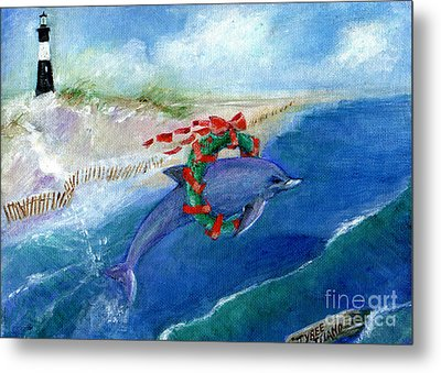 Dolphin Holiday Metal Print
