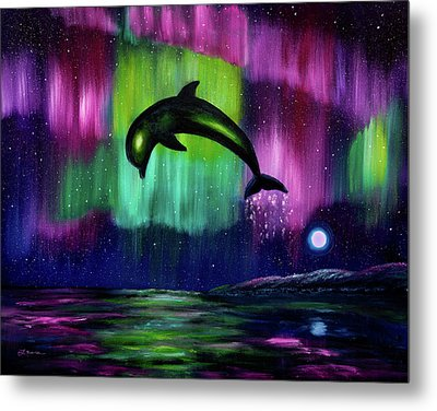 Dolphin Playing In Northern Lights Metal Print