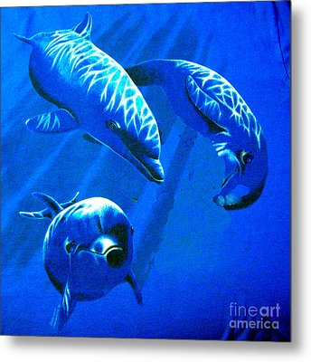 Dolphin Playing  Metal Print by Merton Allen