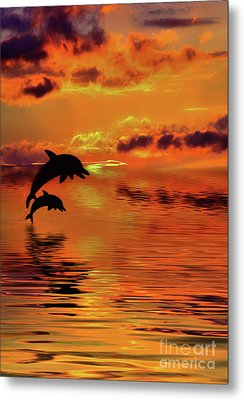 Metal Print featuring the digital art Dolphin Silhouette Sunset By Kaye Menner by Kaye Menner
