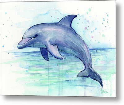 Dolphin Watercolor Metal Print by Olga Shvartsur