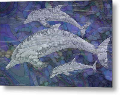 Dolphins - Beneath The Waves Series Metal Print by Jack Zulli