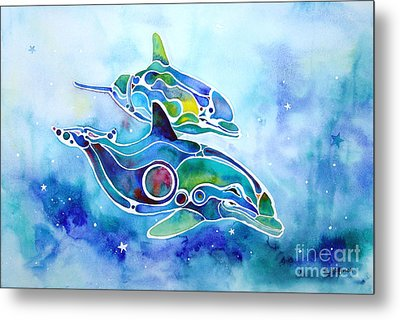 Dolphins Dance Metal Print