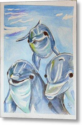 Dolphins Metal Print by Loretta Nash
