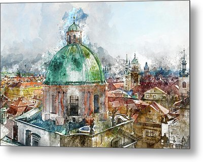 Dome In Prague Czech Republic Metal Print by Brandon Bourdages