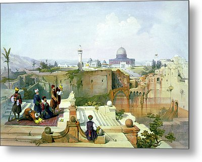 Dome Of The Rock In The Background Metal Print by Munir Alawi