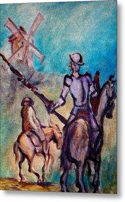 Don Quixote With Windmill Metal Print