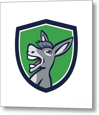 Donkey Head Shouting Crest Retro Metal Print by Aloysius Patrimonio