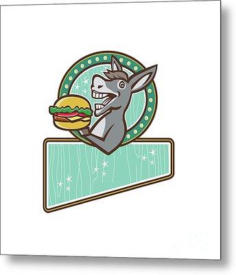 Donkey Mascot Serve Burger Rectangle Oval Retro Metal Print by Aloysius Patrimonio