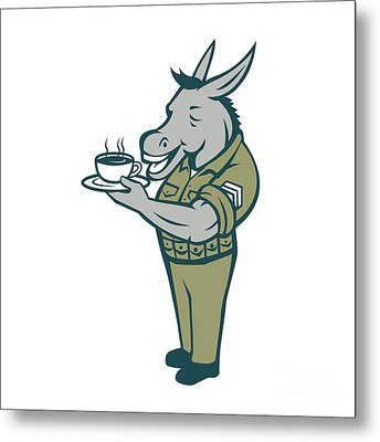 Donkey Sergeant Army Standing Drinking Coffee Cartoon Metal Print