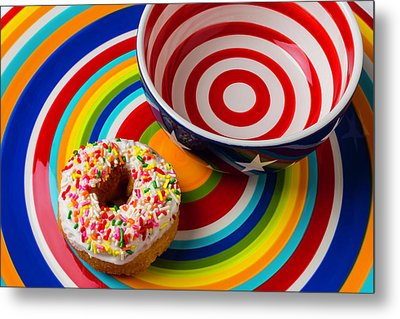 Donut Blowl And Plate Metal Print by Garry Gay