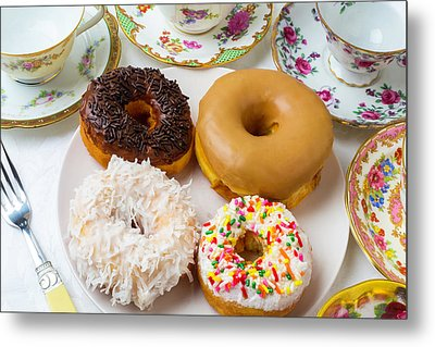 Donuts And Tea Cups Metal Print by Garry Gay