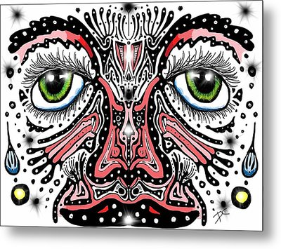 Metal Print featuring the digital art Doodle Face by Darren Cannell